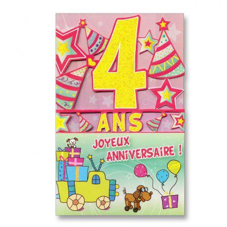 4 ans anniversaire carte