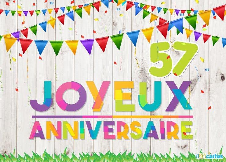 Carte anniversaire 57 ans gratuite