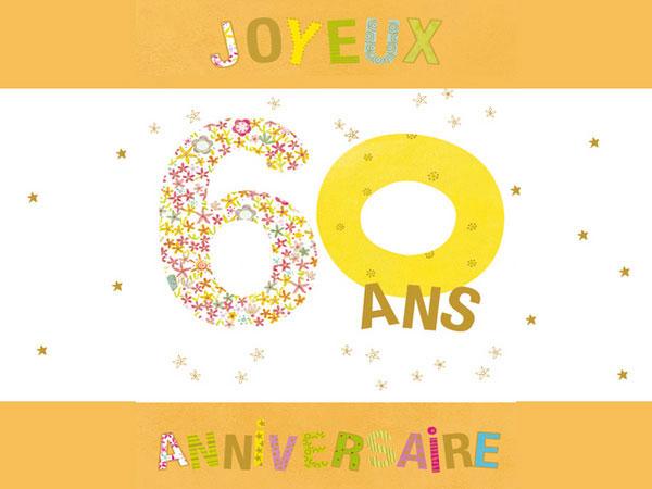 Carte menu anniversaire 60 ans gratuit