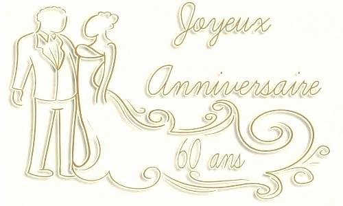 Carte anniversaire 60 mariage