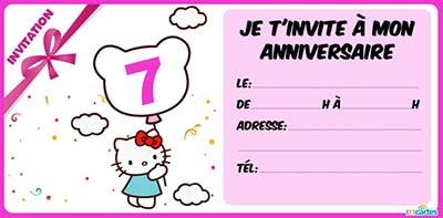 Carte d'invitation anniversaire 7 ans