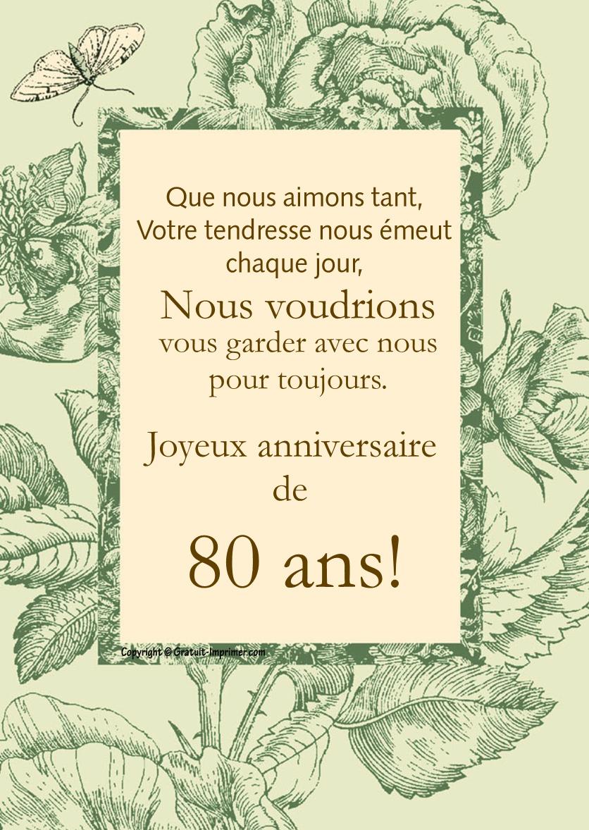 Texte carte anniversaire 80 ans gratuite