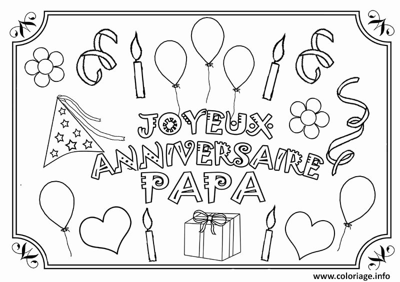 Carte joyeux anniversaire papa a imprimer
