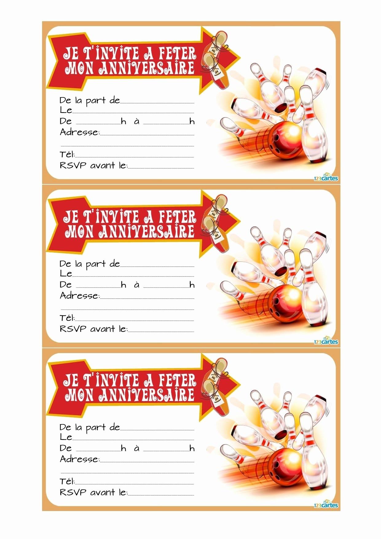 Carte anniversaire bowling gratuite