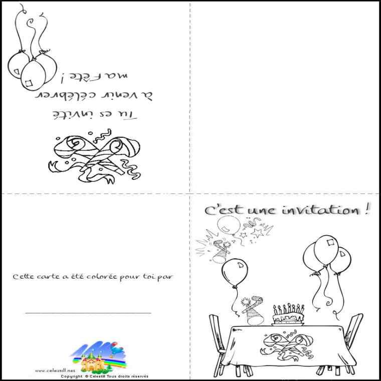 Coloriage carte anniversaire à imprimer