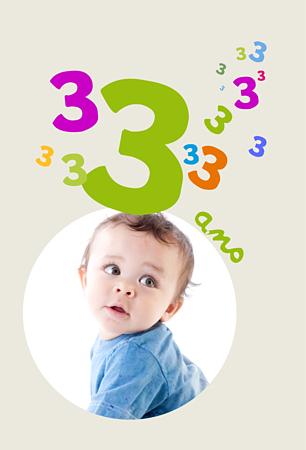 Carte anniversaire pour enfant 3 ans