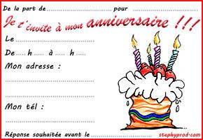 Carte invitation pour anniversaire