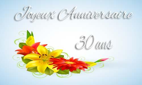 Carte anniversaire virtuelle 30 ans