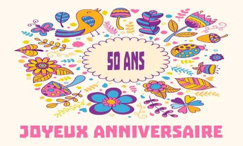Carte anniversaire 50 ans femme a imprimer gratuit
