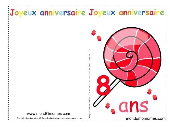 Carte anniversaire gratuite à imprimer 8 ans fille