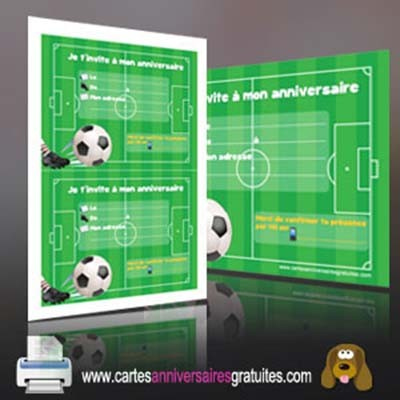 Carte anniversaire football gratuit