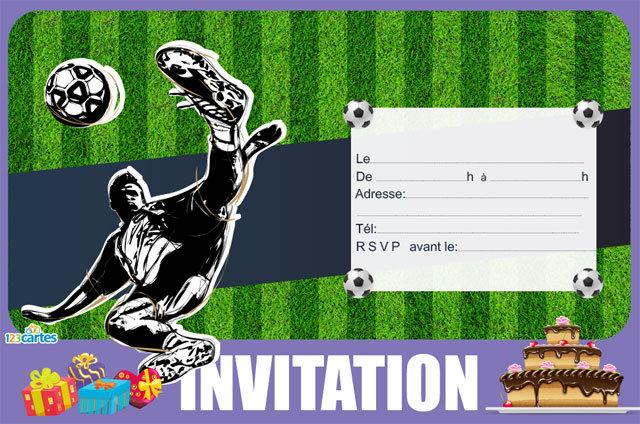 Carte d'invitation anniversaire de foot gratuite à imprimer