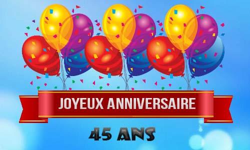 Carte joyeux anniversaire 45 ans