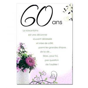 Jolie carte invitation anniversaire 60 ans