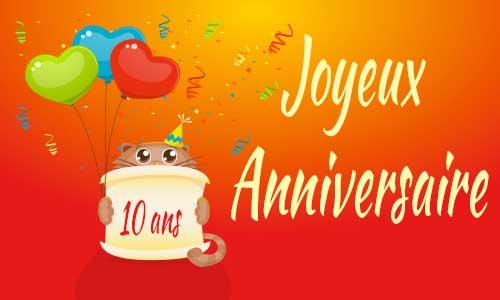 10 ans carte anniversaire