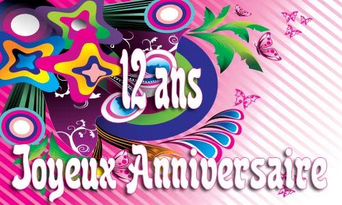 Carte anniversaire 12 ans gratuite