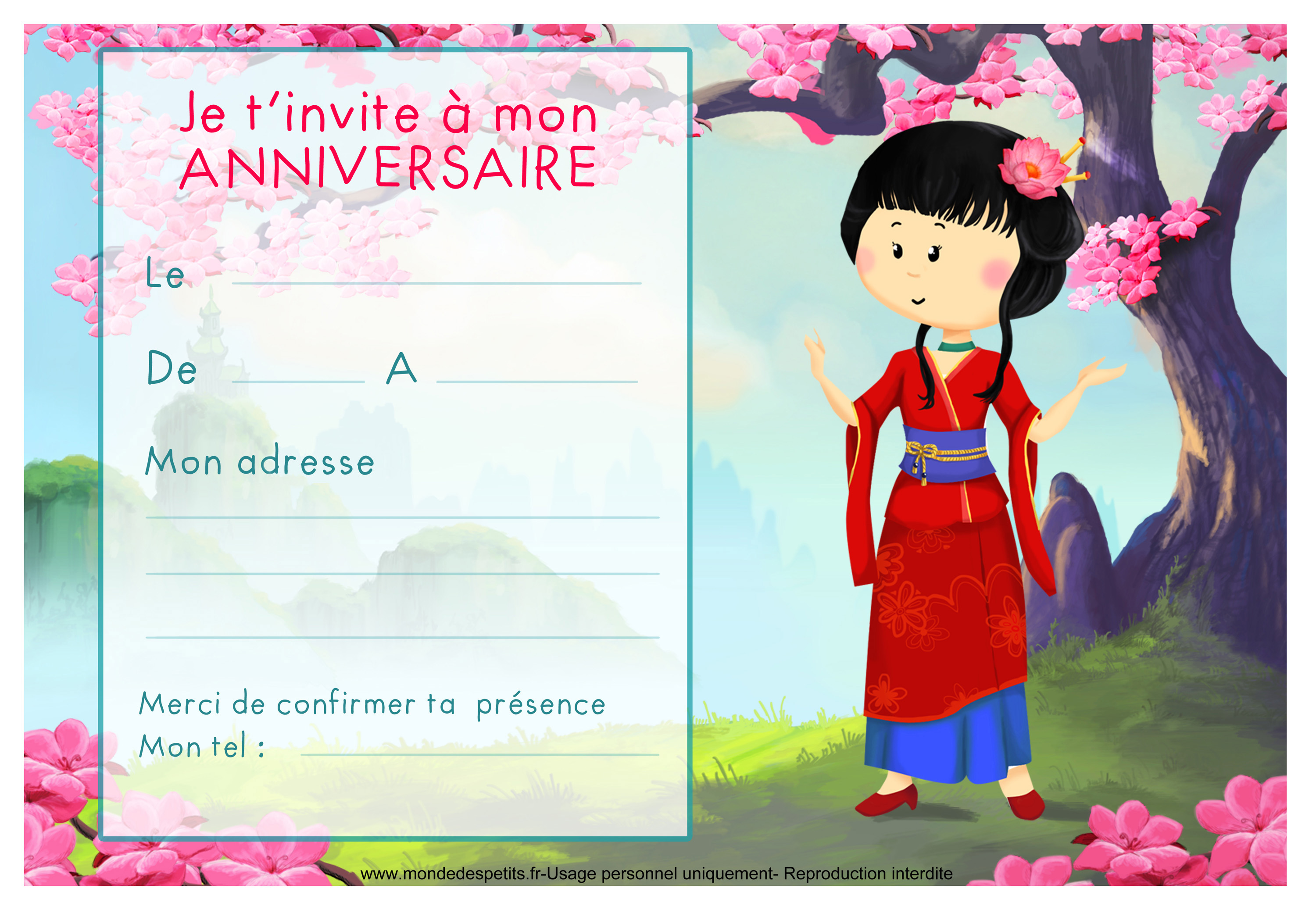 Carte anniversaire fille invitation