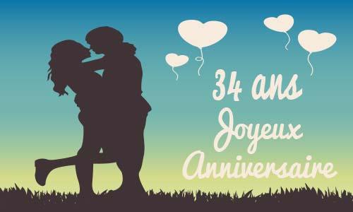 Carte anniversaire de mariage 34 ans