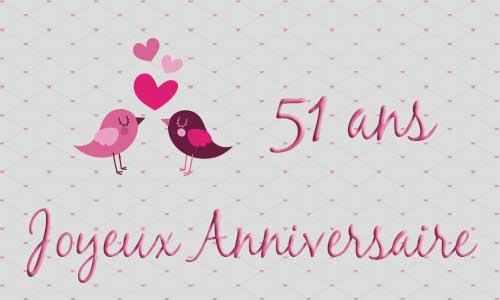 Carte anniversaire de mariage 51 ans