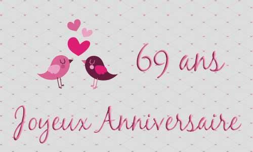 Carte anniversaire de mariage 69 ans