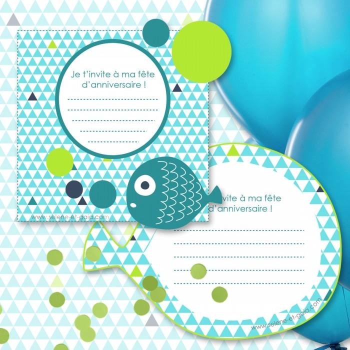 Carte invitation anniversaire poissons
