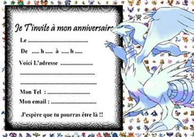 Carte invitation anniversaire enfant pokemon