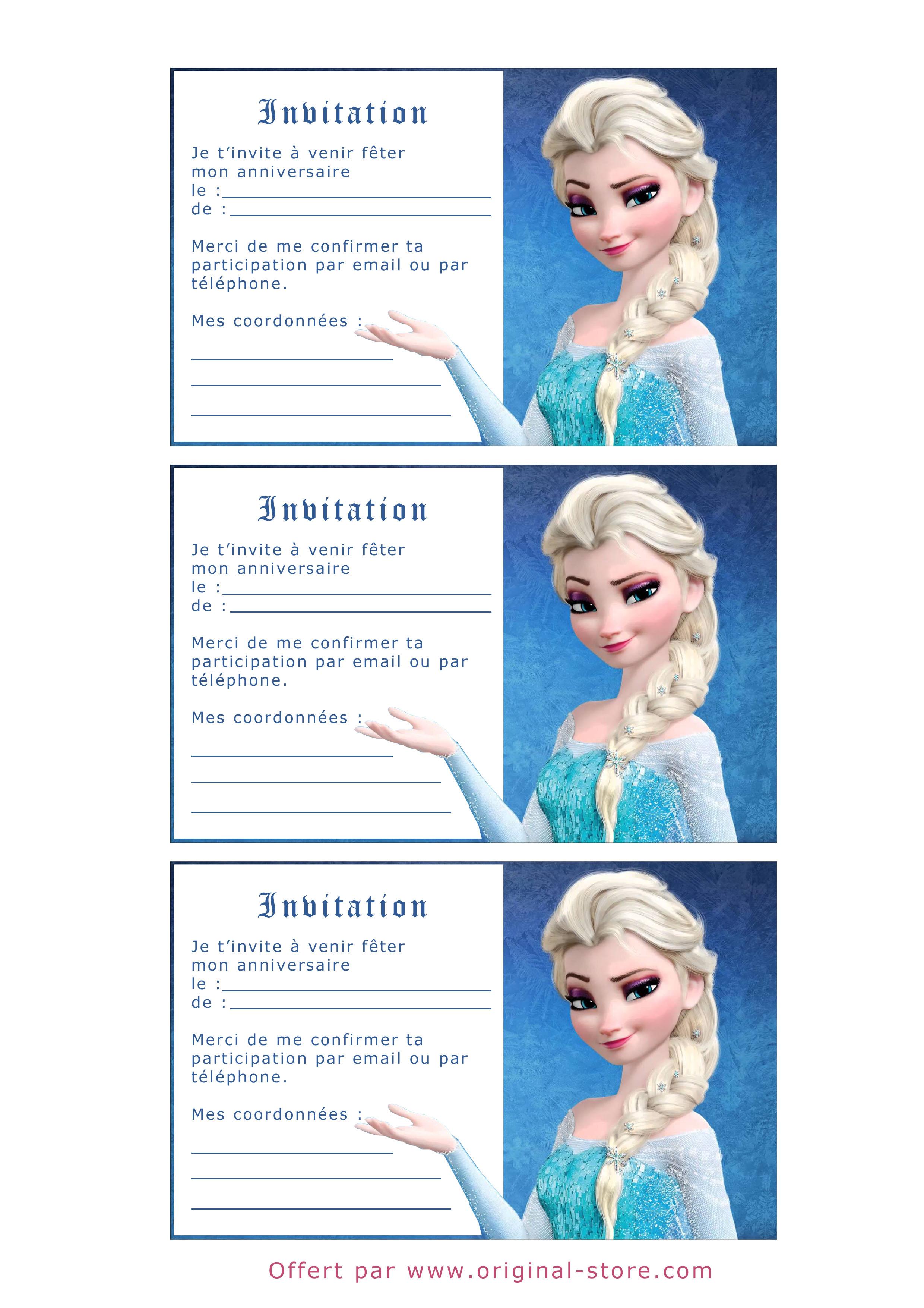Carte anniversaire a imprimer la reine des neiges
