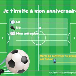Carte invitation anniversaire à imprimer gratuite rugby