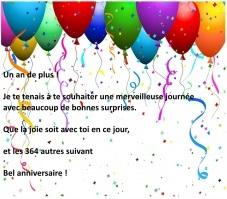 Message anniversaire jeune