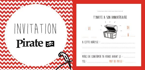 Carte d'invitation anniversaire pirate
