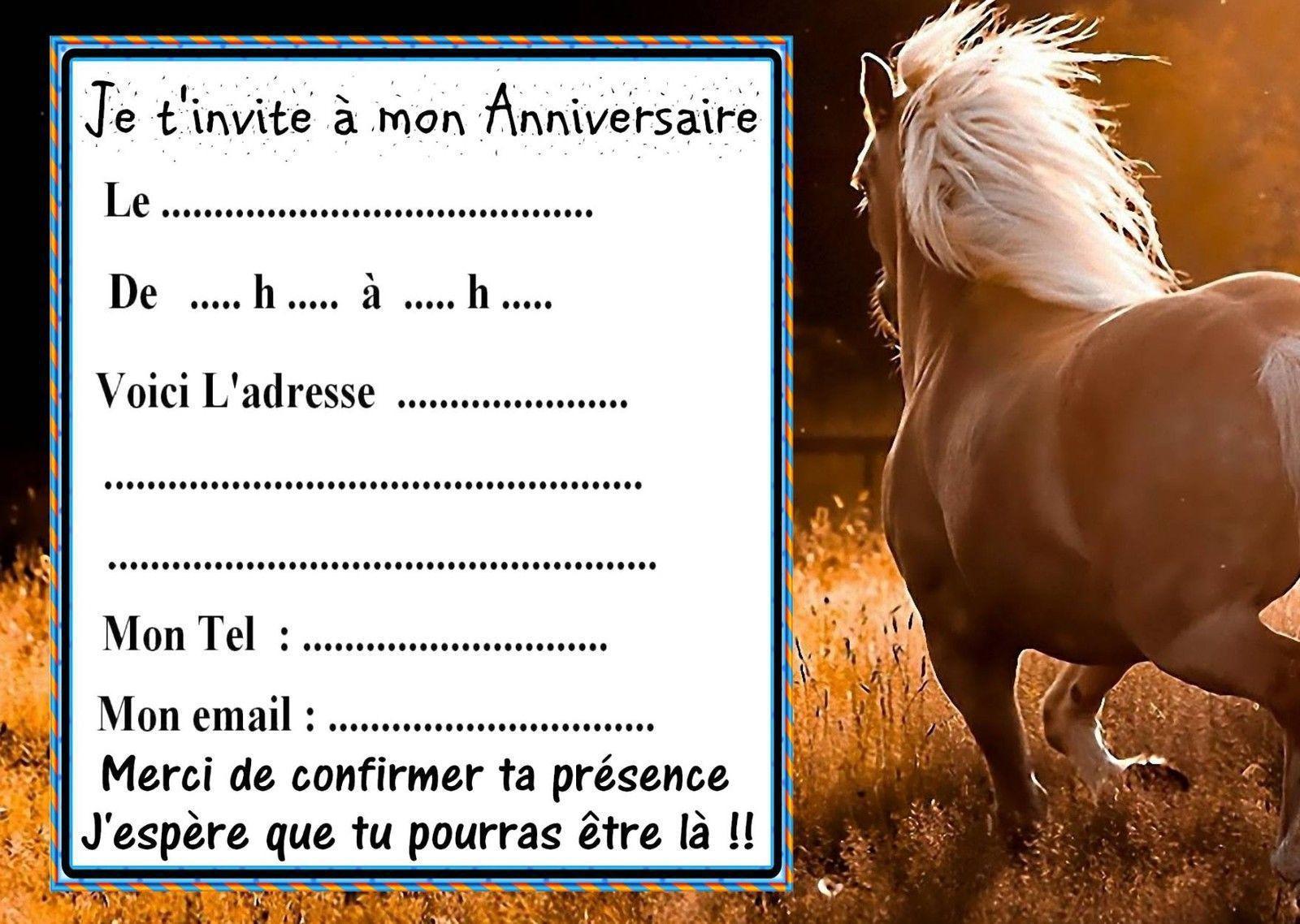 Carte invitation anniversaire a imprimer ado