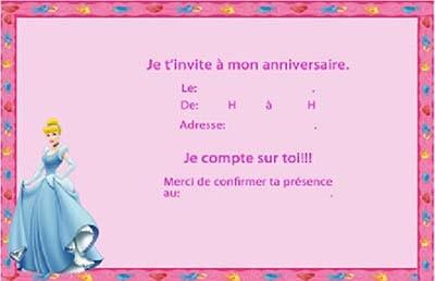Carte invitation anniversaire enfant fille
