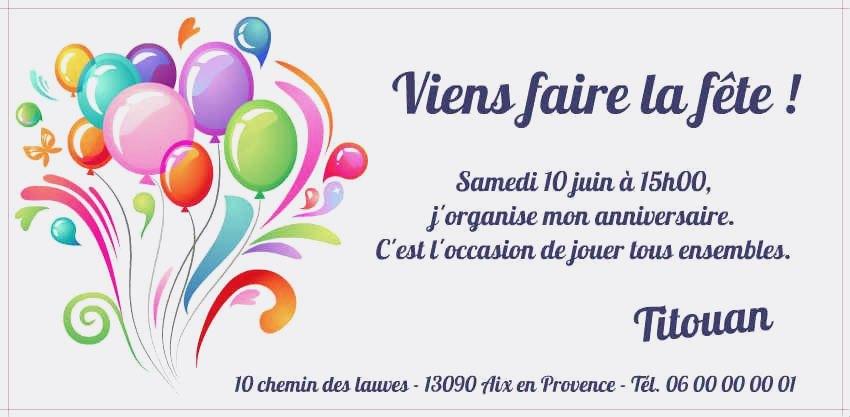 Carte d'invitation anniversaire fille gratuit