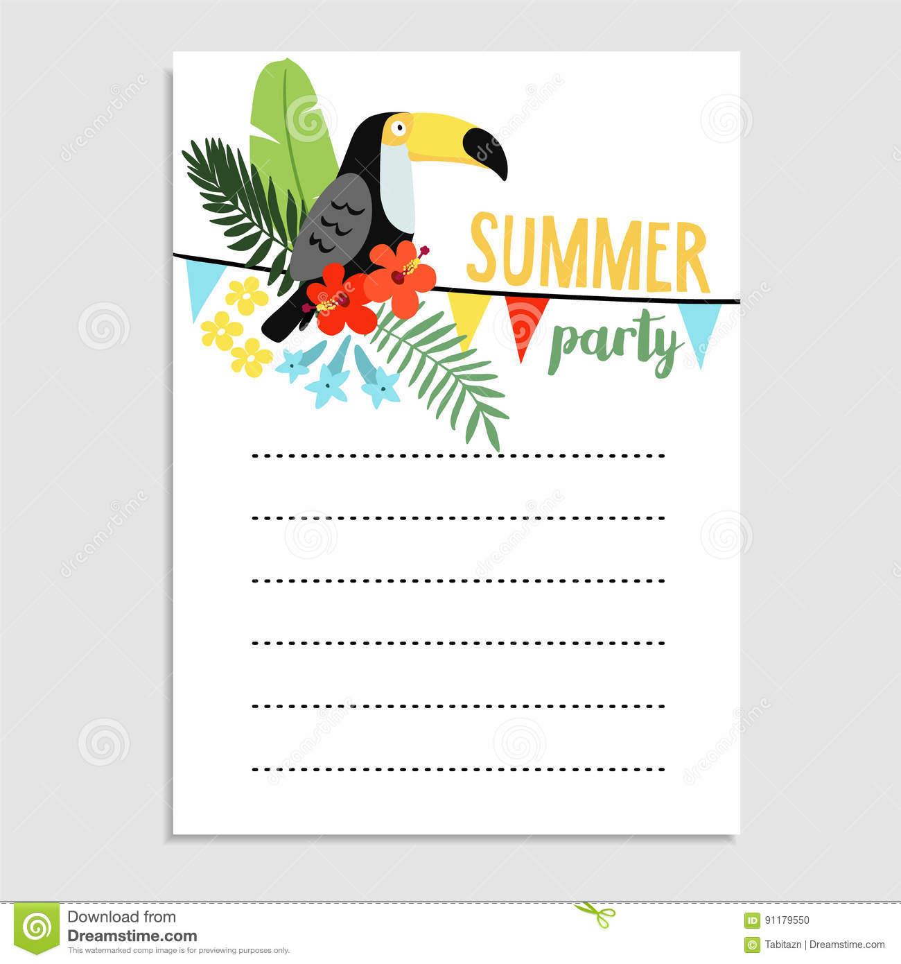 Carte d'invitation anniversaire oiseau