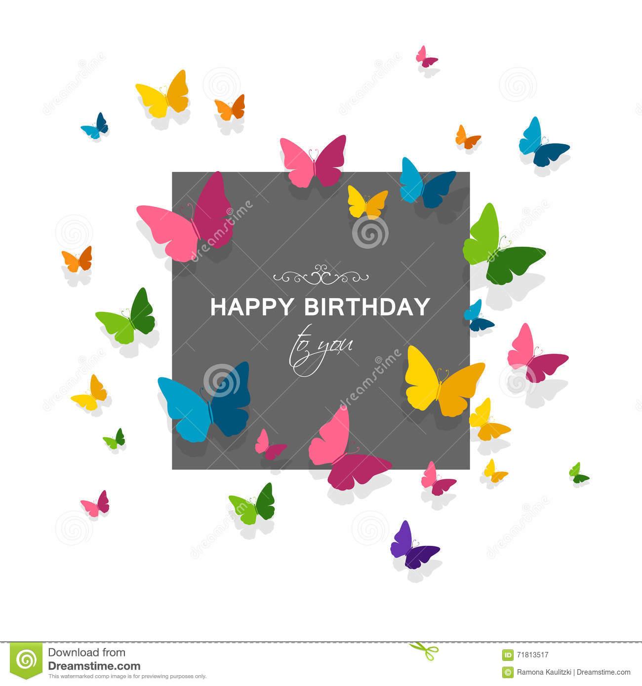 Carte anniversaire avec des papillons
