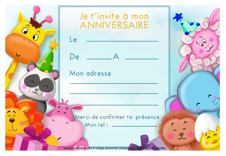 Carte D Invitation Anniversaire A Imprimer Elevagequalitetouraine