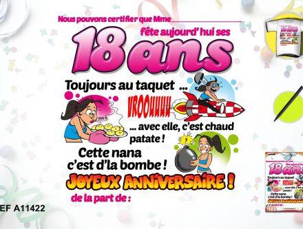 Carte anniversaire 18 ans pour fille