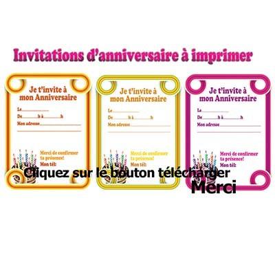Carte d'invitation gratuite a telecharger anniversaire