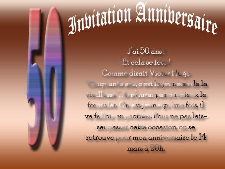 Carte d invitation d anniversaire 50 ans
