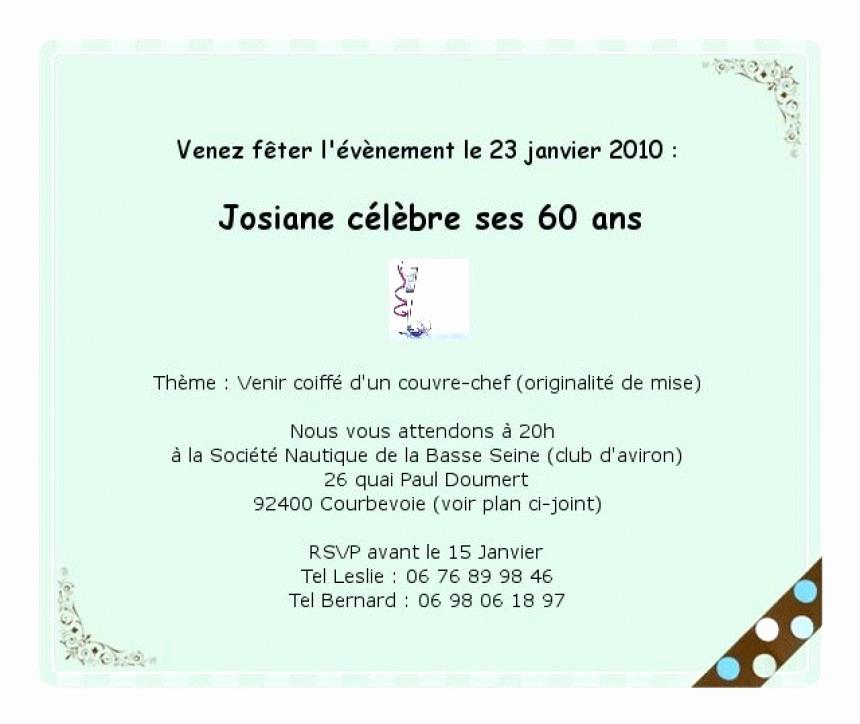 Carte d'invitation pour anniversaire 60 ans