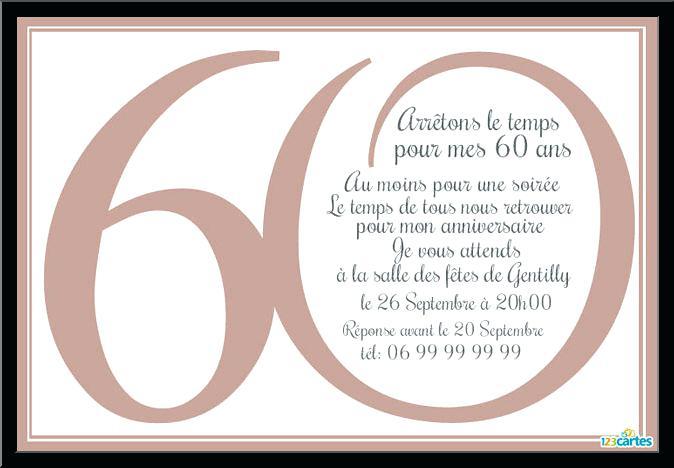 Exemple texte pour invitation anniversaire 60 ans