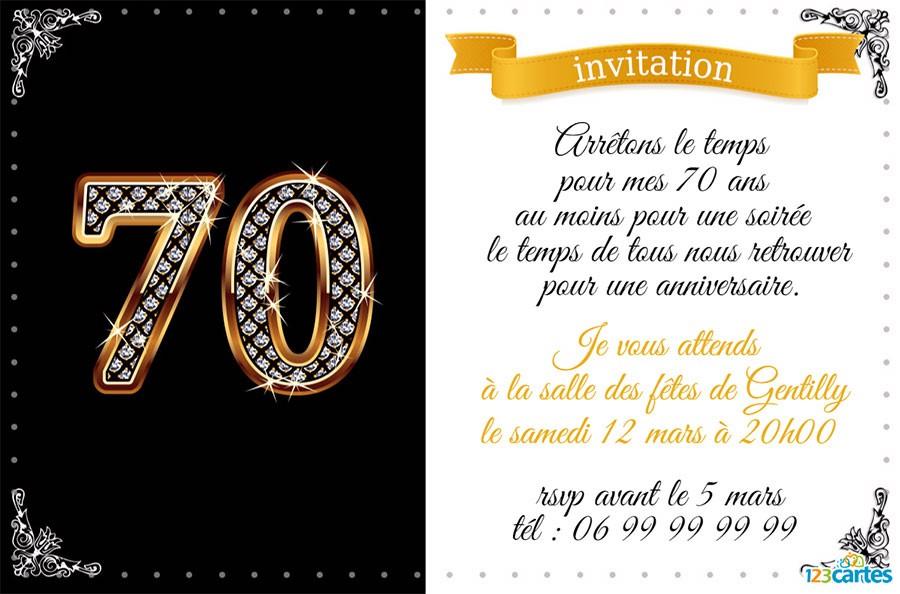 Carte invitation anniversaire homme 70 ans