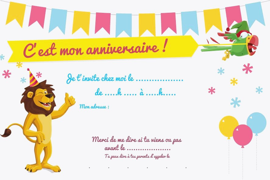 Carte invitation anniversaire 5 ans fille à imprimer