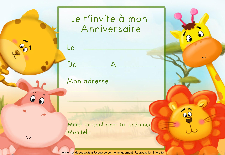 Carte anniversaire invitation enfant