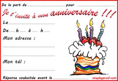 Carte d'invitation anniversaire pour fille de 9 ans a imprimer