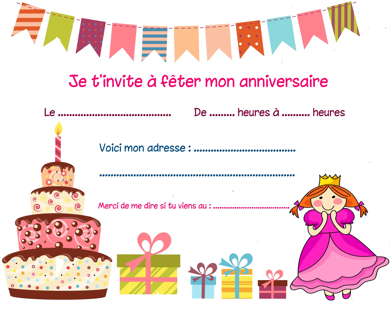 Carte invitation anniversaire fille 9 ans à imprimer
