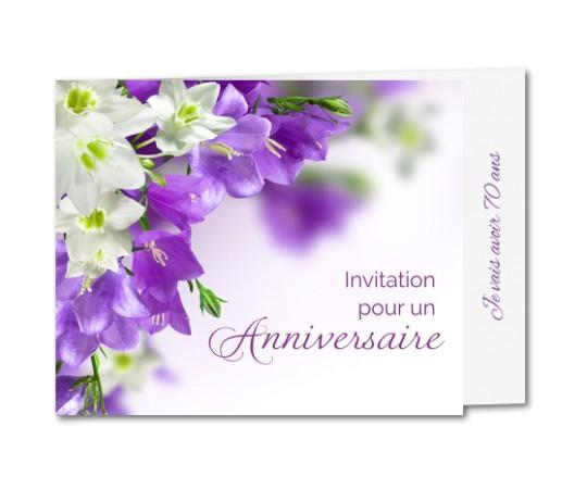 Carte d'invitation anniversaire fleurs