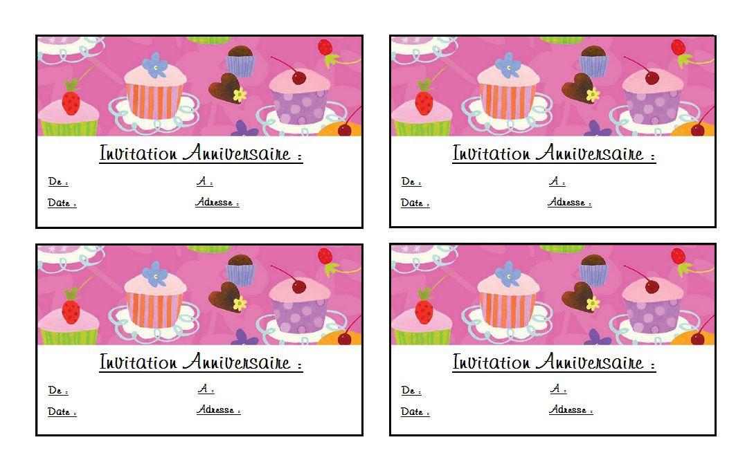 Carte d'invitation anniversaire gratuite à imprimer a personnaliser