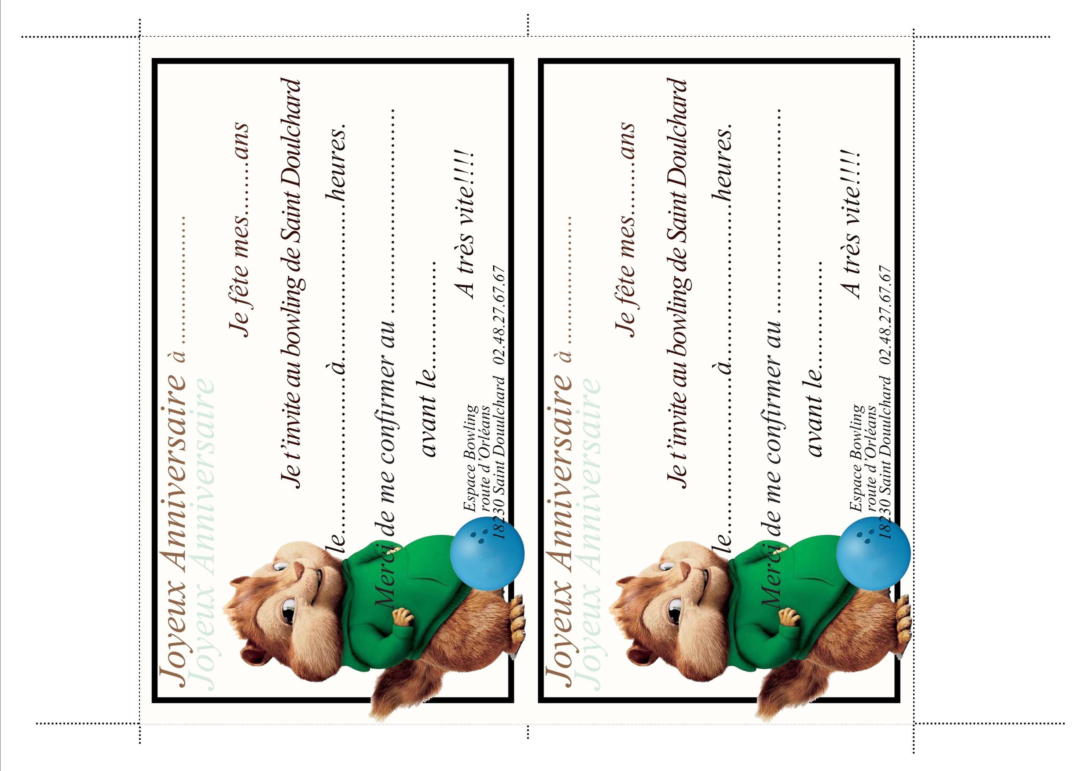 Carte invitation anniversaire enfant 10 ans