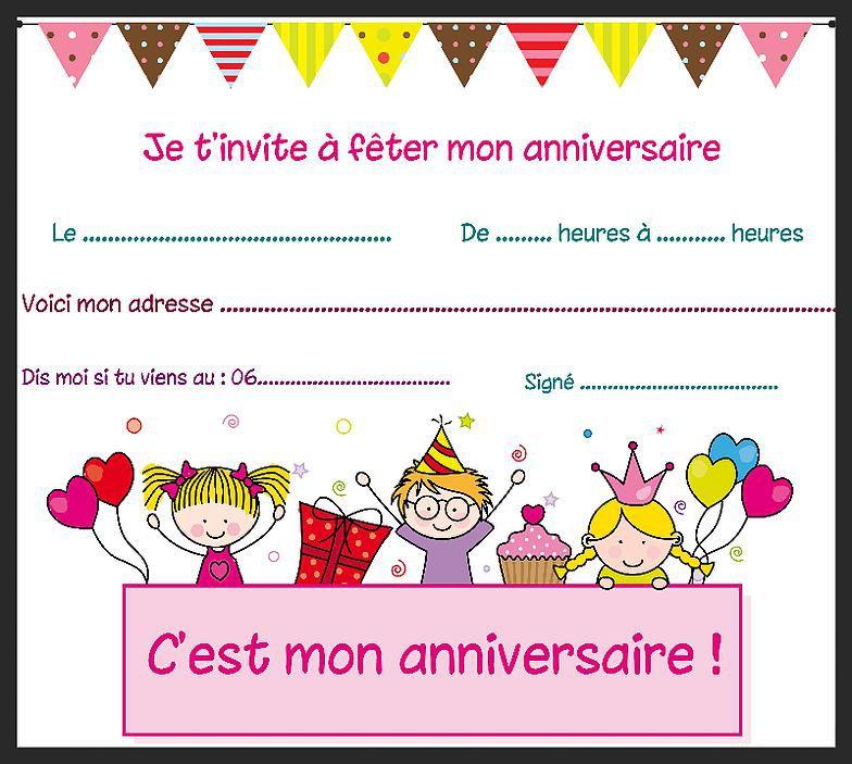 Carte invitation anniversaire a personnaliser